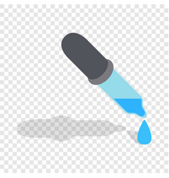 Pipette with drops isometric icon vector