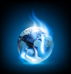 Planet earth and blue flames vector image
