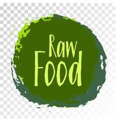 raw food diet label green painted emblem vector image