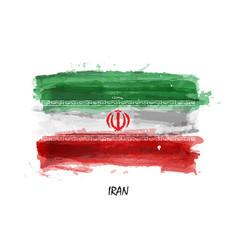 Realistic watercolor painting flag iran vector