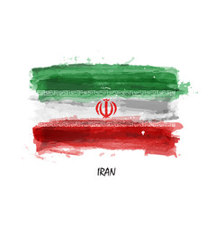 Realistic watercolor painting flag of iran vector
