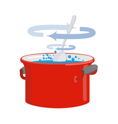Red pan with water isolated kitchen utensils for vector