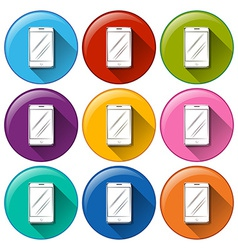 Rounded icons with cellular phones vector image