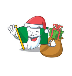 Santa with gift nigeria flag folded in cartoon vector