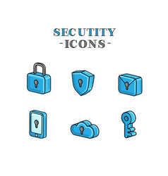 Set icons for security 3d graphic stylized vector