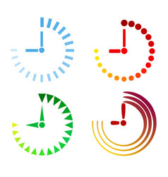 set of clock icons flat design stock vector image