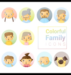 Set of colorful family icons vector image vector image