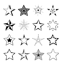 Set of hand drawn stars doodle signs vector image vector image