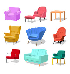 set of modern colorful soft armchair and sofa with vector image