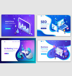 Set of web page design templates for business vector