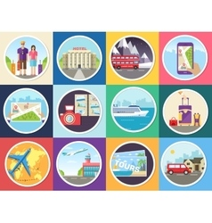Set tourism with fast travel of the world concepts vector