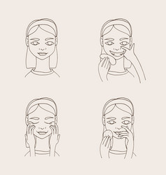 set with lovely cartoon young woman taking care of vector image