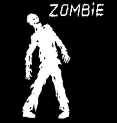 Silhouette of a standing zombie concept vector