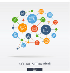 social media integrated thin line icons in speech vector image