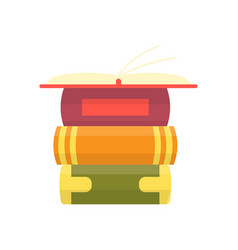 stack colorful books with open book on teal vector image