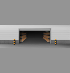 Storehouse opened entrance 3d realistic vector