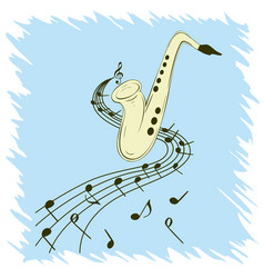 stylish template of saxophone on blue background vector image