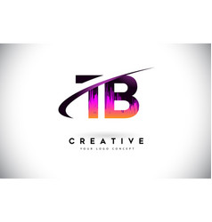 Tb t b grunge letter logo with purple vibrant vector