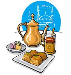 tea baklava and delight vector image