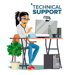 Technical support online operator vector