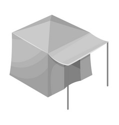 Tent with awningtent single icon in monochrome vector