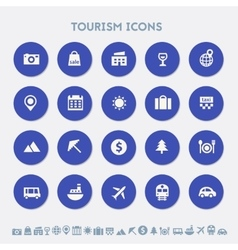Tourism icon set multicolored square flat buttons vector