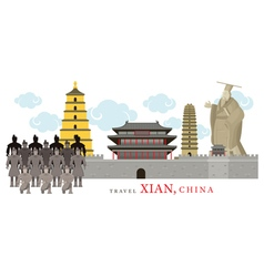 Travel Xian China vector