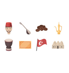 turkey country icons in set collection for design vector image