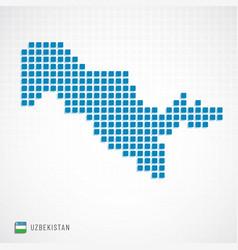 Uzbekistan map and flag icon vector