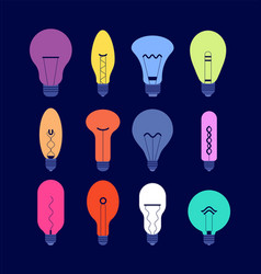 various light bulbs creative idea colourful bulbs vector image