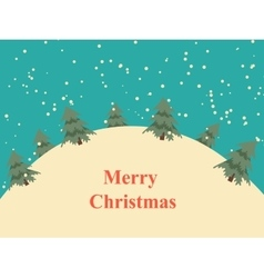 Vintage Christmas card with snow hills and trees vector image