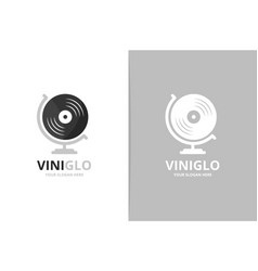 vinyl and globe logo combination record vector image