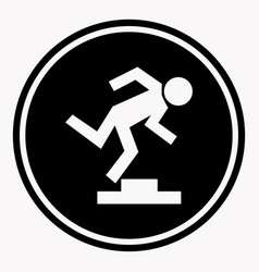 Warning logo sign with stumbling person because of vector