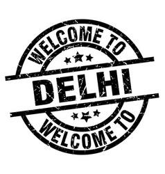 Welcome to delhi black stamp vector