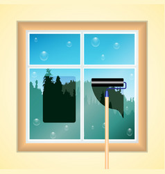 window cleaning wood and blue sky vector image