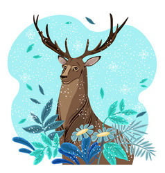 winter deer cartoon character vector image