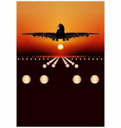 airbus landing at sunset vector image vector image