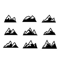 Black mountain icons set vector
