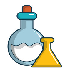 chemical bottles icon cartoon style vector image