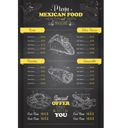 Drawing vertical scetch of mexican food menu vector image vector image