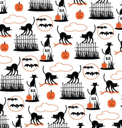 halloween pattern on white vector image vector image
