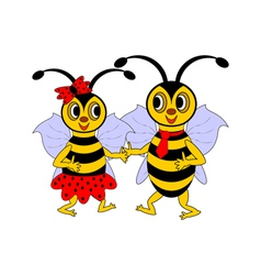 A couple of funny cartoon bees vector image
