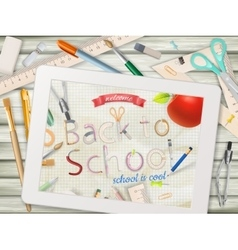Back to school with tablet EPS 10 vector image