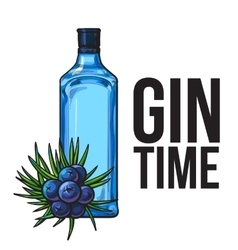 Blue glass gin bottle and juniper berries poster vector image vector image
