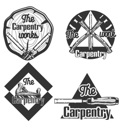 Set of vintage carpentry emblems vector
