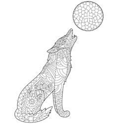 Wolf coloring for adults vector