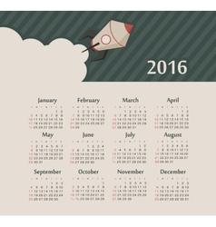 Calendar for 2016 with rocket Week Starts Sunday vector image