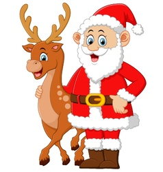 cartoon santa and deer posing vector image