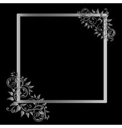 Vintage frame on black background vector image vector image