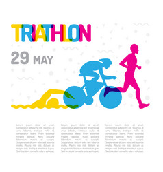 banner sport triathlon vector image vector image